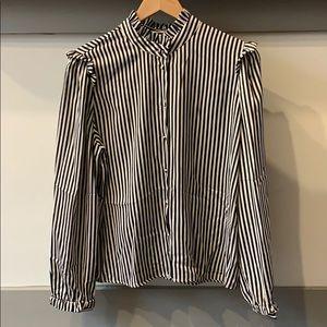 WhoWhatWear black/white striped blouse size Large